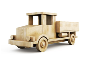 Wooden truck close-up isolated on white background. 3d.