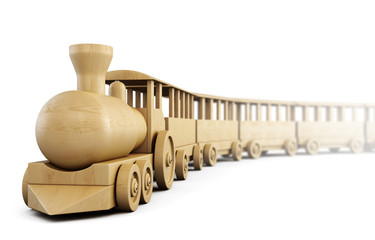 Wooden train isolated on white background. 3d.