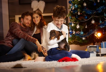 Christmas with little boy and puppy