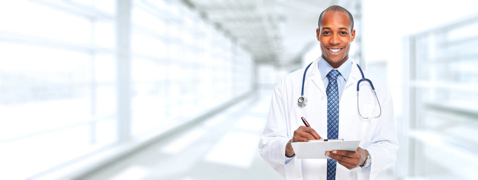 African-american doctor man.