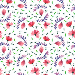 Watercolor seamless floral pattern. Flowers texture.