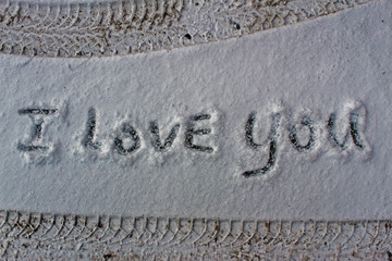 "The inscription ""I Love You"" on the snow"