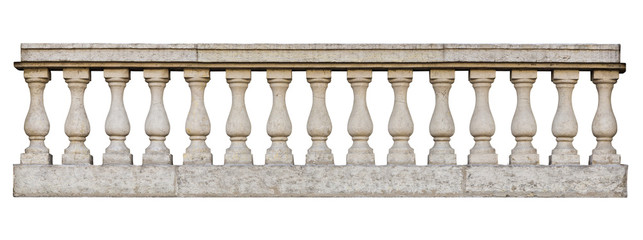 Baroque balustrade (isolated on white background)