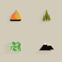 Mountain Camping Icons