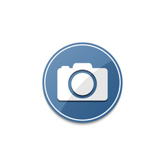 Blue photo camera icon with shadow
