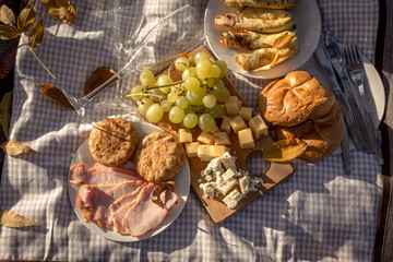Food background of picnic set, top view
