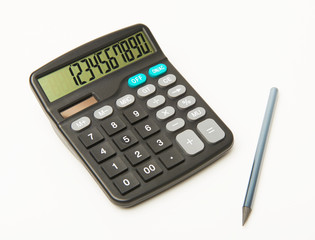 Calculator on a white background with black pencil and numbers on display