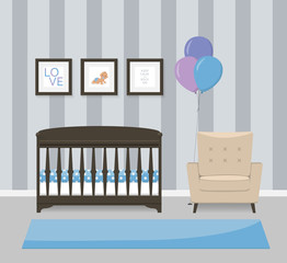 Baby room interior design in blue colors. Crib, armchair and framed pictures. Flat style vector illustration