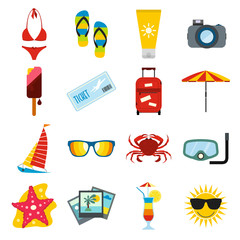 Summertime icons set