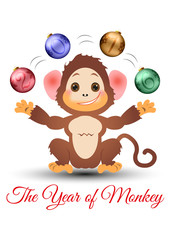 Happy little monkey juggling with baubles