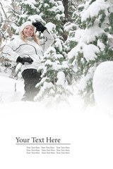 Portrait of young beautiful woman on winter outdoor background. Banner, lots of space.