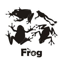 Frog Silhouette Vector. Frog of silhouettes set vector