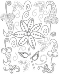 Black and white hand drawn line art ornate flower coloring page design for adults vector
