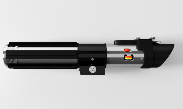 Realistic, blue, disabled laser sword top view