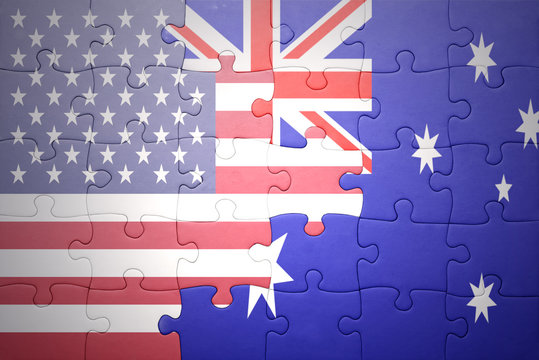 puzzle with the national flag of united states of america and australia