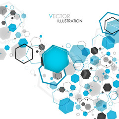 Abstract geometric blue hexagon background. Vector illustration