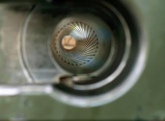 Old artillery/Close up empty loader, rear of old artillery gun.
