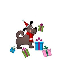 funny puppy in Santa hat on white background with presents