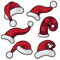 Cartoon Santa hat collection. EPS 10 vector illustration.