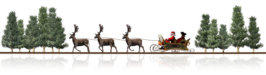 Christmas panorama - Santa Claus, sleigh, rendeers, trees - with reflection