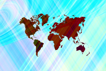 Abstract art background with world map