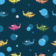 Vector seamless pattern with cartoon fishes. Underwater life.