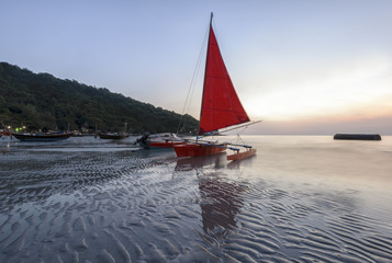 Sailboat sand strips wonderful natural