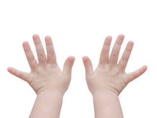 Baby hands isolated over white background