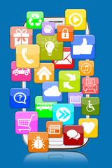 Smartphone mit Application Apps App für Internet Kommunikation