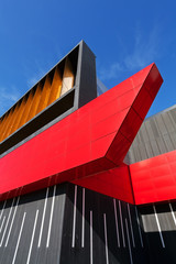 colorful aluminum facade on large shopping mall