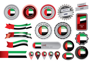 Made in UAE Seal, Emirates Flag (Vector Art)