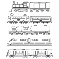 Line art train icons