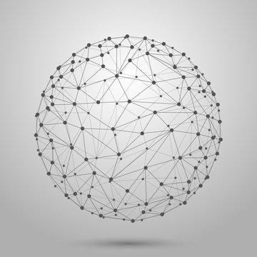 Wireframe 3D mesh polygonal vector sphere