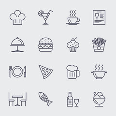 Restaurant line icons vector set