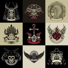 Set of nine art label.