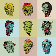 Set of nine drawn image with the zombie.