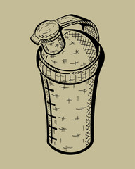 Hand drawn bottle for Sport Nutrition. Vector monochrome illustration