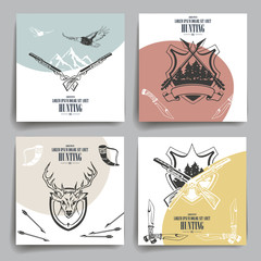 Brochure or flyers design. Weapons, animals and hunting equipment icons