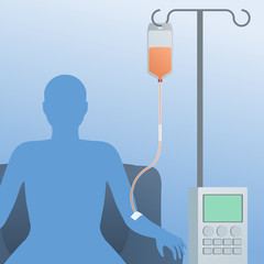 person silhouette who receives a intravenous drip, medical machine, image illustration