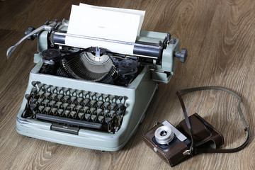 typewriter and camera retro