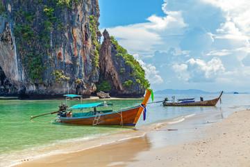 Thai boat on Railay beach in Krabi