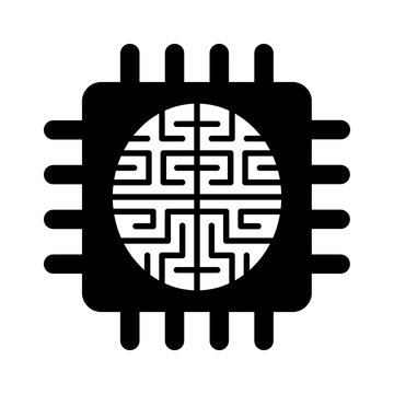 Artificial intelligence brain chip flat icon for apps and websites