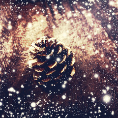 Christmas background with christmas decoration. Festive pine con