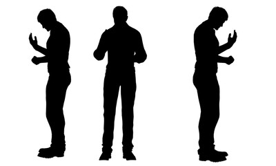 overweight fat men silhouettes