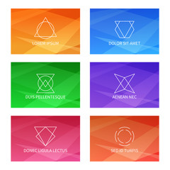 Wall Mural - User interface vector templates set with triangular pattern and abstract geometric linear logo