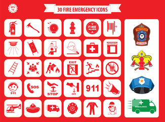 Set of fire emergency icons (fire exit, emergency exit, fire assembly point, ladder, axe, fire extinguisher, hose reel, alarm, eye wash, fire exit, 911, hydrant, first aid, ambulance, badge)