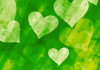 many hearts on green backgrounds of Love symbol Wall mural