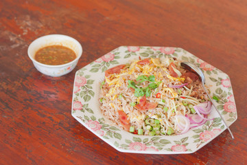 Thai style fried rice mixed with shrimp paste