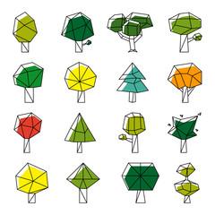 Wall Mural - Line art polygonal trees vector icons