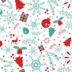 Christmas elements, with text seamless pattern background. EPS10 vector file organized in layers for easy editing. for graphic design